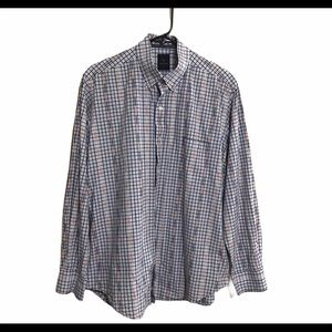 TAILORBYRD Collection Plaid Blue Button Down Shirt